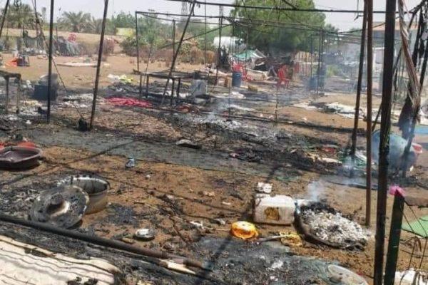 Udbrændte bygninger i Sudans hovedstad efter det voldsomme militære indgreb. Foto: STC / FB