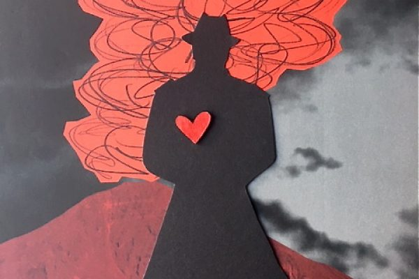 Leonard Cohen i silhouet. Collage af Eva Kofod-Hansen.