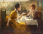 To veninder drikker the i kunstnerens atelier (ml. 1885-1925)